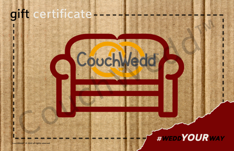 This picture shows our CouchWedd Gift Certifcate.